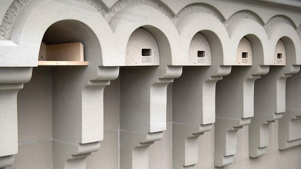 An der Westseite des Bundeshauses sollen sich seltene Alpen- und Mauersegler einnisten können. Dazu wurden am Montag Nistkästen installiert.