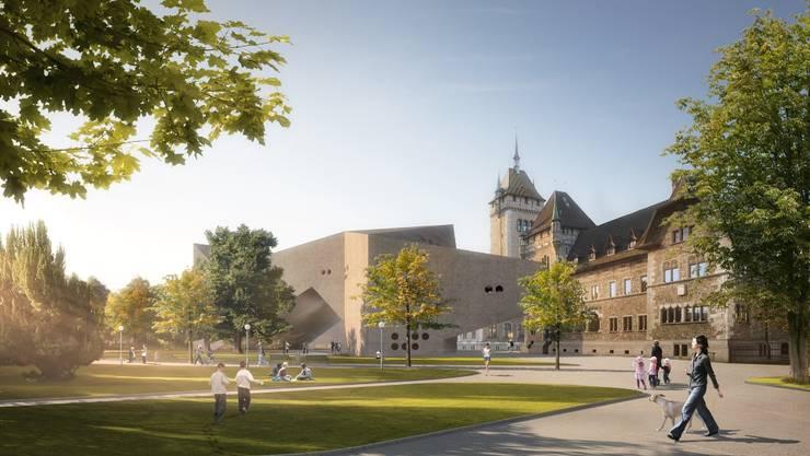 So soll das Landesmuseum mit dem Erweiterungsbau aussehen.  visualisierungen/zvg