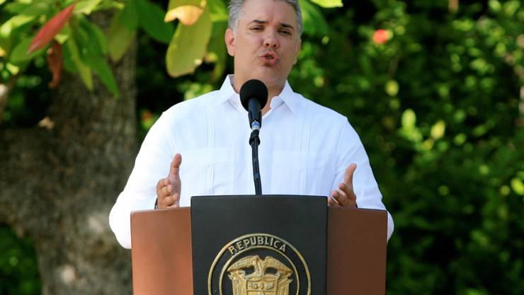 Reaktivierte Haftbefehle gegen Mitglieder der ELN-Guerilla in Kolumbien: Präsident Iván Duque. (Archivbild)
