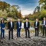 Staatsschreiberin Vincenza Trivigno, Jean-Pierre Gallati, Landstatthalter Alex Hürzeler, Landammann Stephan Attiger, Dr. Markus Dieth, Dieter Egli (von links nach rechts).