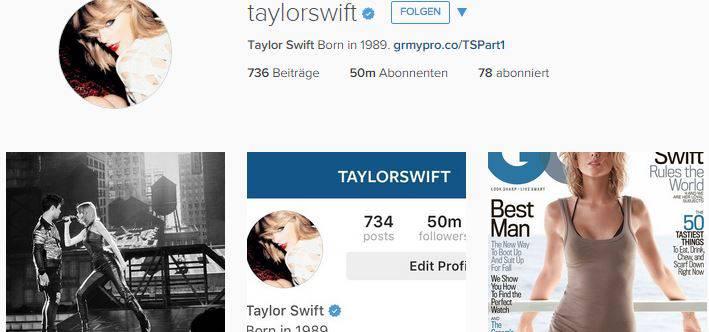 Taylor Swift knackt 50 Millionen User-Grenze