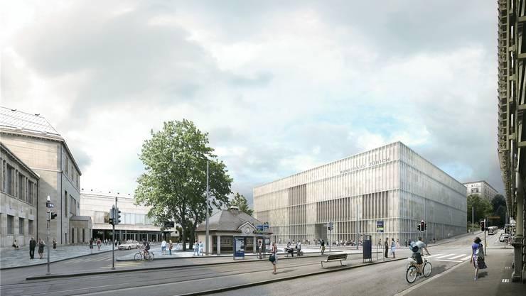 Das geplante Kunsthaus in Zürich von aussen.