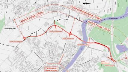 Umfahrungsprojekt Abschnitt 1 (mit Reussbrücke), Kreisel Tanklager (rechts) bis Kreisel Birrfeldstrasse (Mitte). Abschnitt 2, Kreisel Birrfeldstrasse (Mitte) bis Kreisel Lenzburgerstrasse (links) (Karte Kanton Aargau).