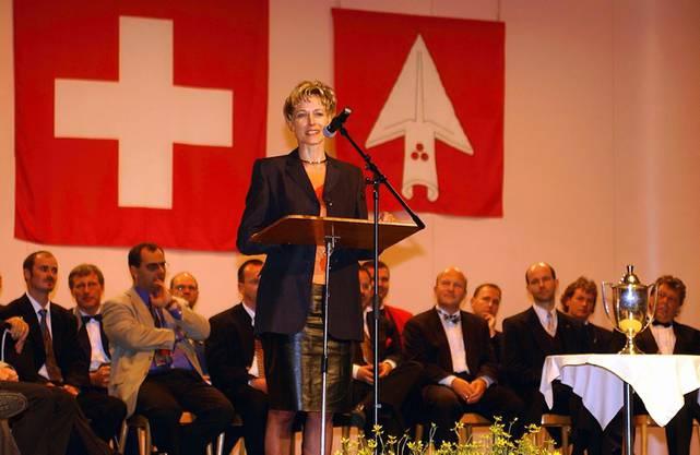 2000: Regierungsrätin Ruth Gysi spricht beim Wettbewerb für Blasorchester