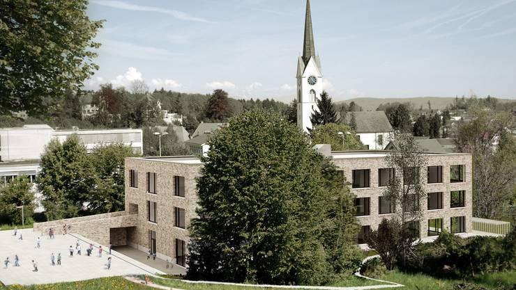 So soll das neue Seoner Schulhaus Hertimatt 3 aussehen, über das am 2. Mai an einer ausserordentlichen Gemeindeversammlung entschieden wird. Visualisierung Steiger Architekten Baden