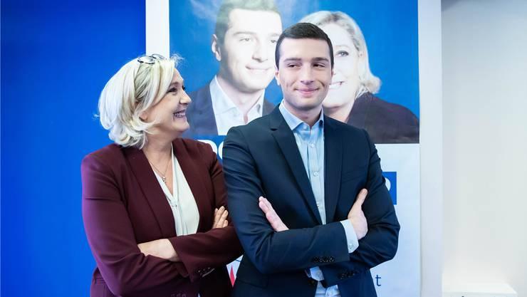 Die Vordenkerin und ihr politischer Ziehsohn: Marine Le Pen (l.) und ihr Frontkämpfer für die Europawahl, Newcomer Jordan Bardella. Imago Images