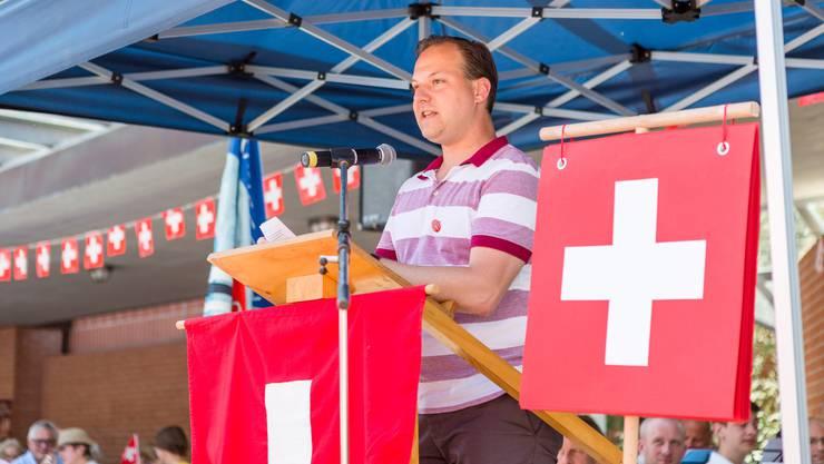 1. August-Feier in Untersiggenthal mit Gastredner Landammann Alex Hürzeler. Im Bild: Gemeinderat Norbert Stichert.
