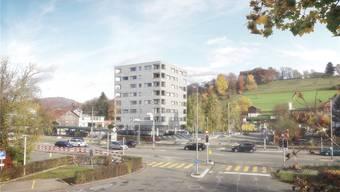 So könnte das Hochhaus mit Gewerberäumen und 24 Wohnungen beim Bahnhof einmal aussehen.