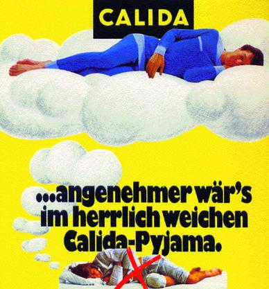 1984: Das Bündchen ist auch in den 80ern immer noch der Werbefaktor von Calida.