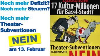 Ausschnitte aus den Plakaten von FDP (links) und SVP zu den Subventionen für das Theater Basel.