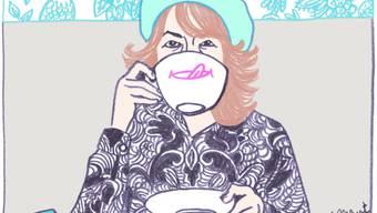 Mit scharfem Blick und spitzer Feder fängt Ulli Lust ironiegetränkte Alltagsmomente ein und garniert sie wie bei diesem Selbstportrait von 2009 (Ausschnitt) mit eigenen Akzenten.