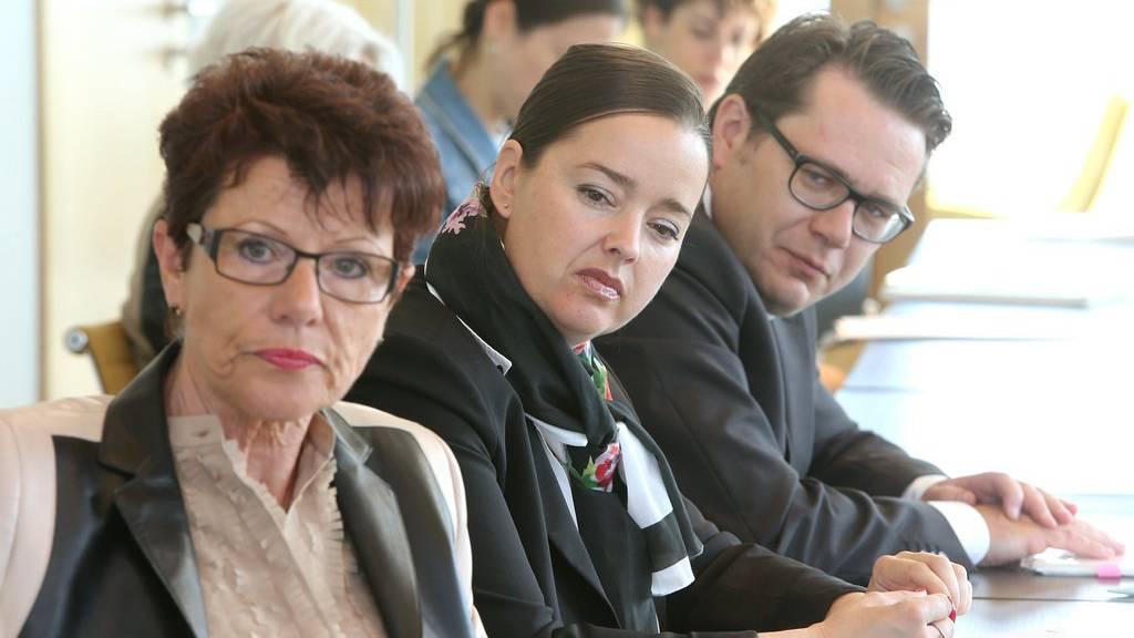 Landammann Marianne Koller-Bohl (AR), die Thurgauer Regierungsrätin Carmen Haag und der St.Galler Regierungsrat Beni Würth bei der Präsentation der Pläne für die Expo 2027.