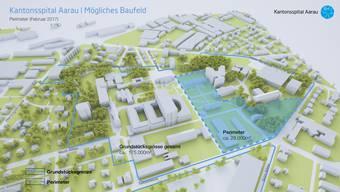 Der Neubau des Hauptgebäudes käme auf dem blau markierten Feld zu liegen. Oben: Haus 5; Mitte Haus 35; unten Häuser 10 und 11. In der Bildmitte das heutige Haus 1.