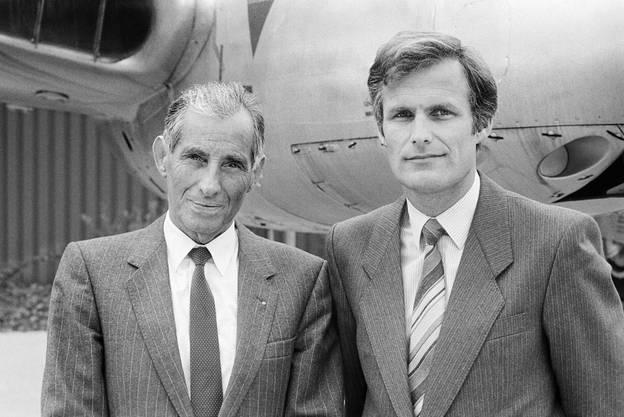 Alfred Waldis, Mitbegründer und Direktor des Verkehrshauses der Schweiz, und der neue Direktor Fredy Rey am 19. Oktober 1985