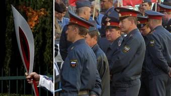 Tausende Polizisten sollen sicherstellen, dass das olympische Feuer in Moskau nicht erlöscht.