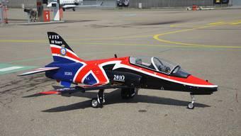 Die Hawk – ein Jettrainingsflugzeug, das auch zu sehen sein wird. Hier in einem Spezialanstrich der Royal Air Force.