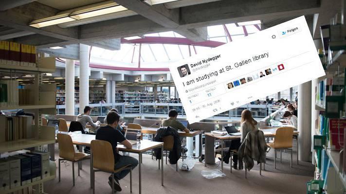 Der erste Schweizer Tweet kam aus der Bibliothek der HSG.