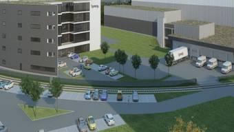 So soll der Hauptsitz aussehen: Links das Bürogebäude, rechts Hochregallager mit Betriebsgebäude.zvg