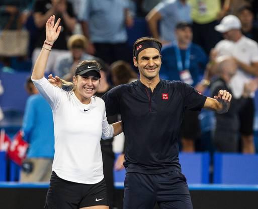 Seit ihren beiden Siegen beim Hopman Cup sind Belinda Bencic und Roger Federer freundschaftlich verbunden.