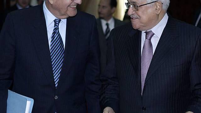 Mitchell (links) und Abbas trennten sich ohne Ergebnis