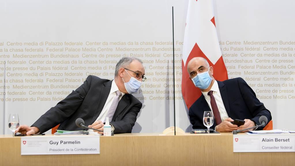 Bundespräsident Guy Parmelin und Gesundheitsminister Alain Berset.