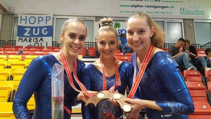 Daniela Rosato, Marina Mäder und Manuela Crameri holten sich zusammen mit zwei weiteren Aargauer Turnerinnen den Sieg in ihrer Kategorie.