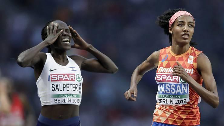 Lonah Chemtai Salpeter (links) bemerkt ihren Irrtum. Sie hatte im 5000-Meter-Rennen den Endspurt gegen die spätere Siegerin Sifan Hassan eine Runde zu früh lanciert.