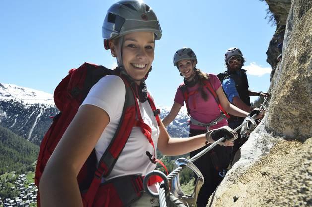 Linda am Klettersteig Schweifinen in Zermatt