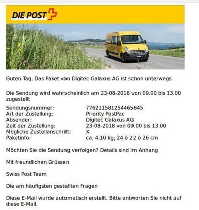 Diese E-Mail sollte man sofort löschen oder an reports@antiphising.ch melden