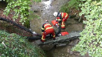 Mit einer mit einer Wassersperre und Schwimmsaugern pumpen die Feuerwehrleute die Gülle aus dem Sörikerbach.