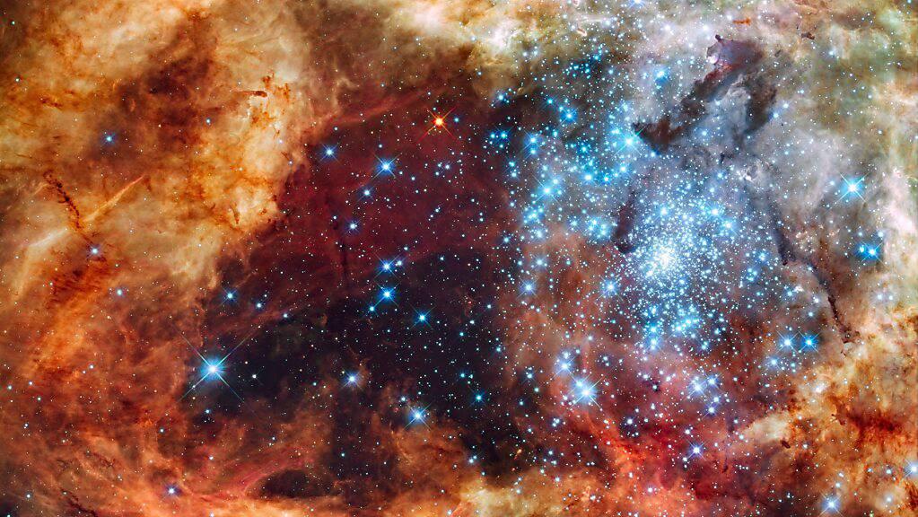 Junge Sterne in der Grossen Magellanschen Wolke: Die Geburt von Sternen wird durch die vorhandenen Gasmengen in den Galaxien bestimmt, wie eine neue Studie zeigt.