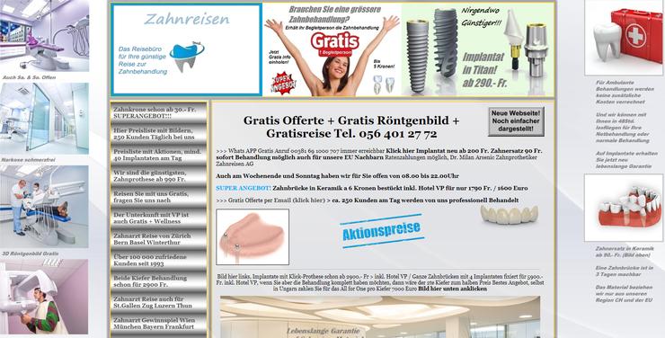 Auf der Website wirbt der Spreitenbacher Unternehmer mit billigen Preisen, gratis Reisen und hochwertigen Behandlungen.