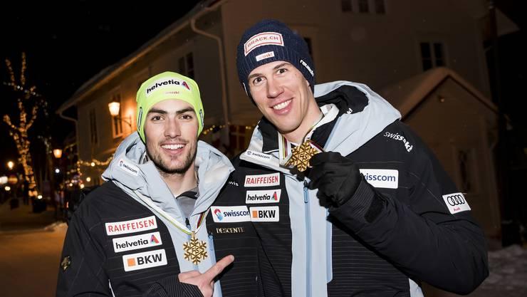 Daniel Yule (l.) und Ramon Zenhäusern haben im Teamwettkampf auch schon zusammen Medaillen gewonnen.