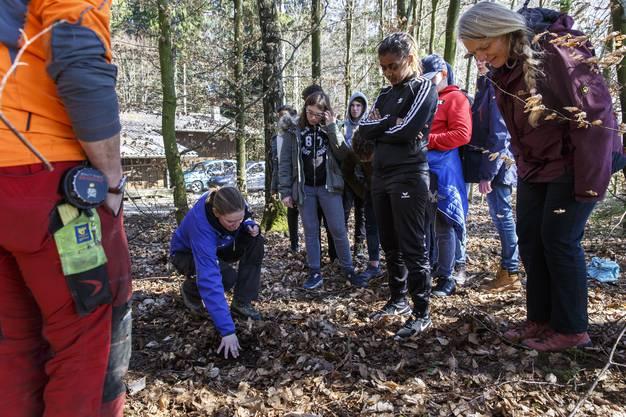 Kreisförsterin Daniela Gurtner zeigt die ganz kleinen Bäume