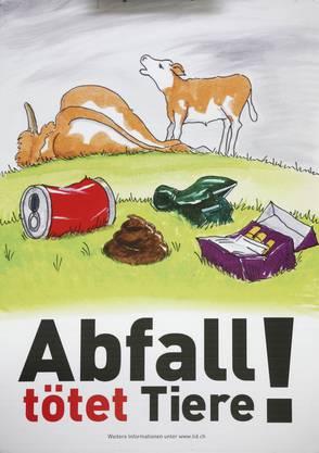 Auf jedem steht «Abfall tötet Tiere»