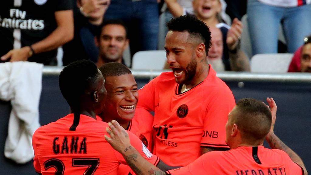 Kylian Mbappé, Neymar und Co. feiern den Treffer in Bordeaux