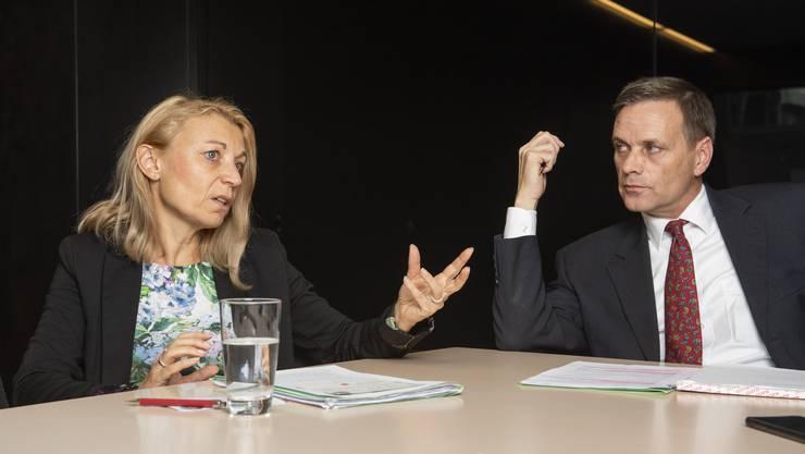 Yvonne Feri und Jean-Pierre Gallati im Streitgespräch.