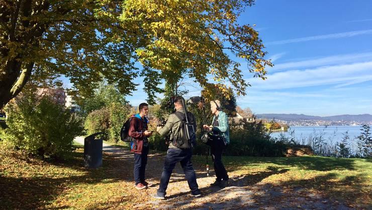 Joel Grolimund bei den Dreharbeiten am Zürichsee im vergangenen Oktober.