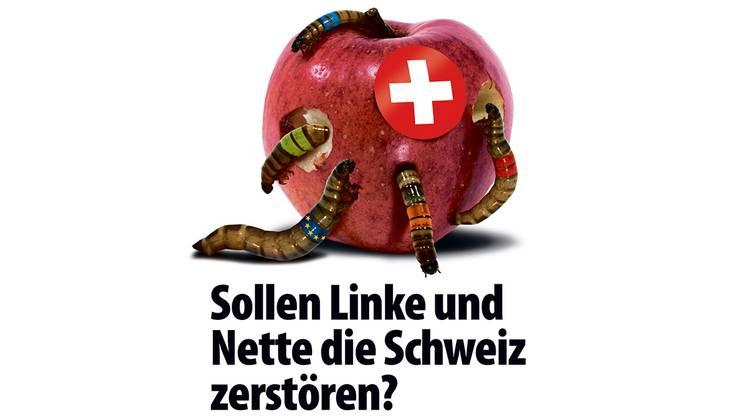Ein Schweizer Apfel wird von Ungeziefer in Parteifarben zerstört. Das ist die neue Plakatkampagne der SVP Schweiz. zvg