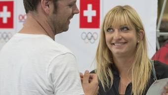 Timea Bacsinszky (rechts) mit Tennis-Delegationsleiter Severin Lüthi - nur Bacsinszky und Martina Hingis sind aus dem einst stolzen Team noch dabei