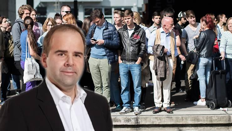 Fotomontage: SBB-Sprecher Christian Ginsig und wartende Pendler am Bahnhof Glattbrugg.