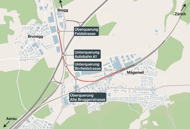 Die neue Bahnschlaufe muss vier Strassen unter- oder überqueren.