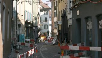 Während 16 Wochen eine Baustelle: Die Mittlere Gasse in Baden. PKR