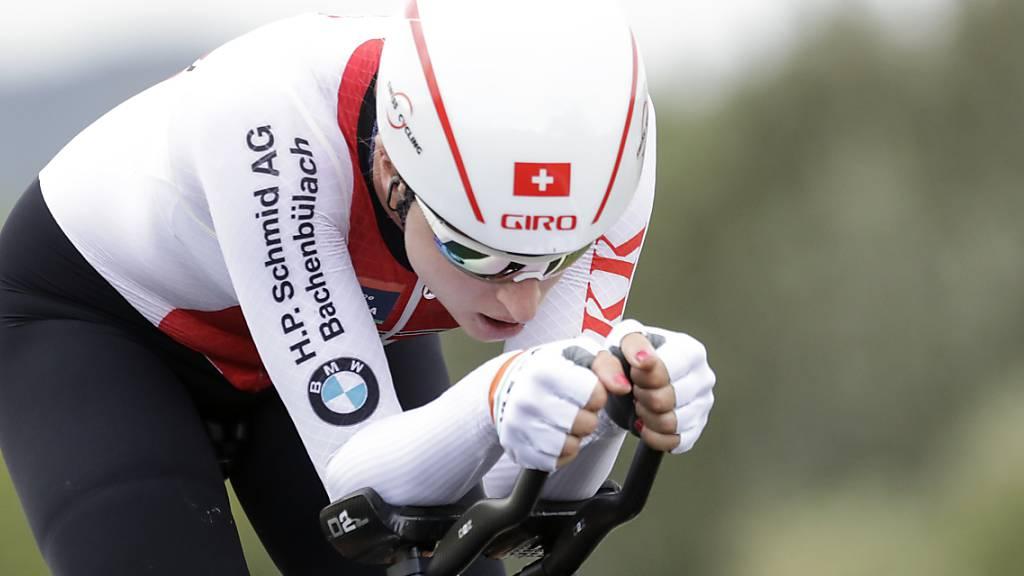 Marlen Reusser auf dem Weg zu ihrer WM-Silbermedaille