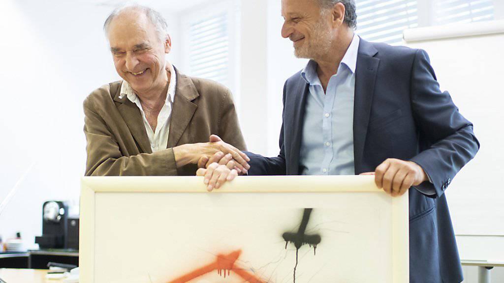 """Der international als """"Sprayer von Zürich"""" bekannt gewordene Künstler Harald Naegeli hat sich mit der Stadt Zürich versöhnt - und ihr als Wiedergutmachung ein Kunstwerk geschenkt."""